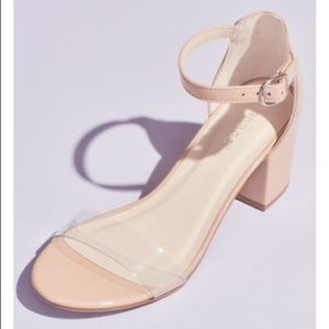 BAMBOO CLEAR BAND BLOCK NUDE SANDAL HEELS 7